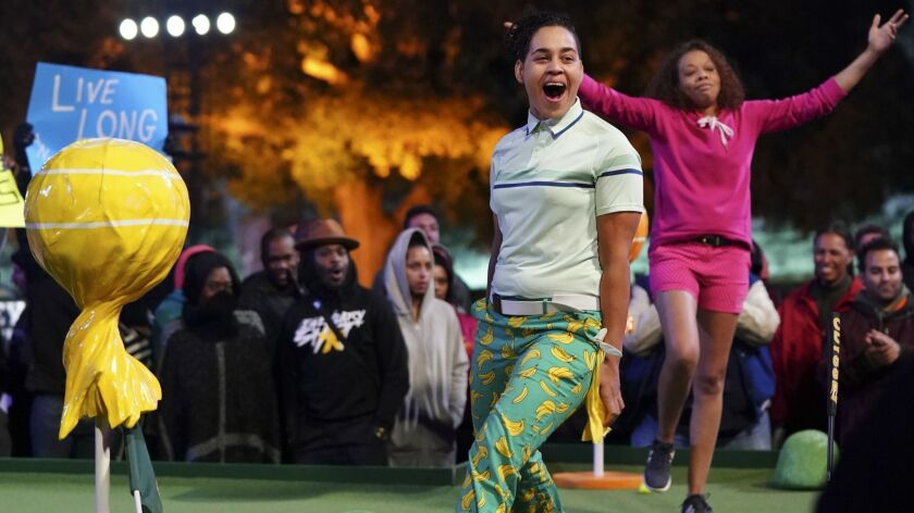 """Miniature golfers Mariama Bonette and Rio Hawkins compete in an episode of the ABC summer series """"Holey Moley."""""""