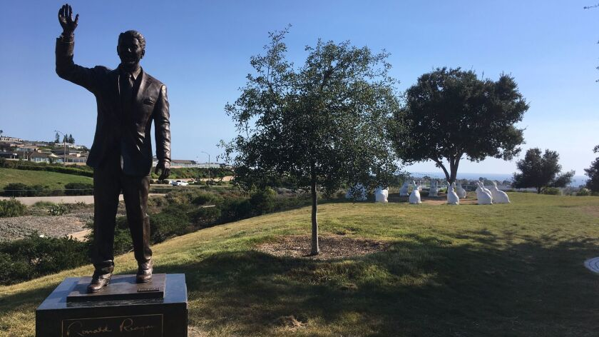 The city-owned Ronald Reagan statue has already been placed in Civic Center Park.