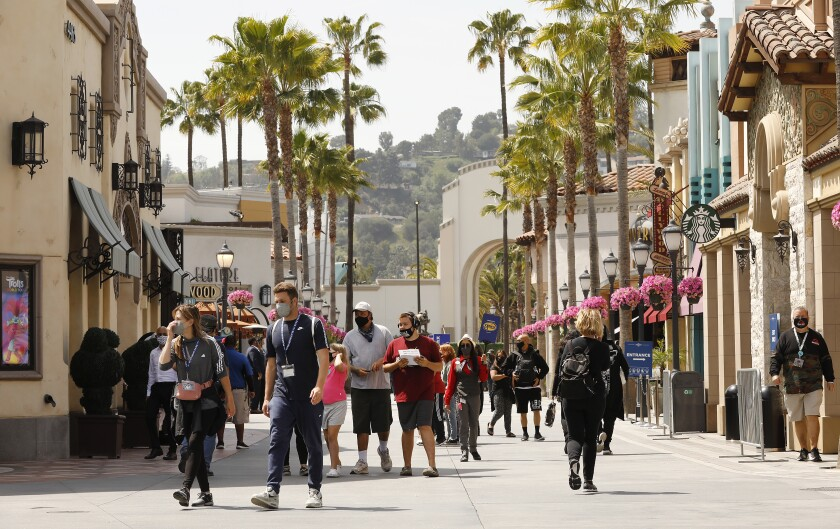 People visit Universal Studios Hollywood