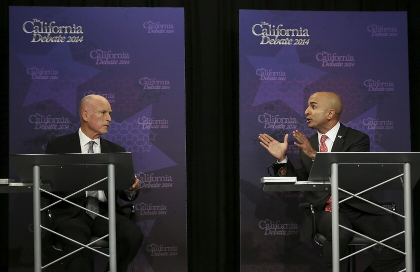 Gov. Jerry Brown and his Republican challenger Neel Kashkari at their sole debate on Sept. 4, 2014, in Sacramento.