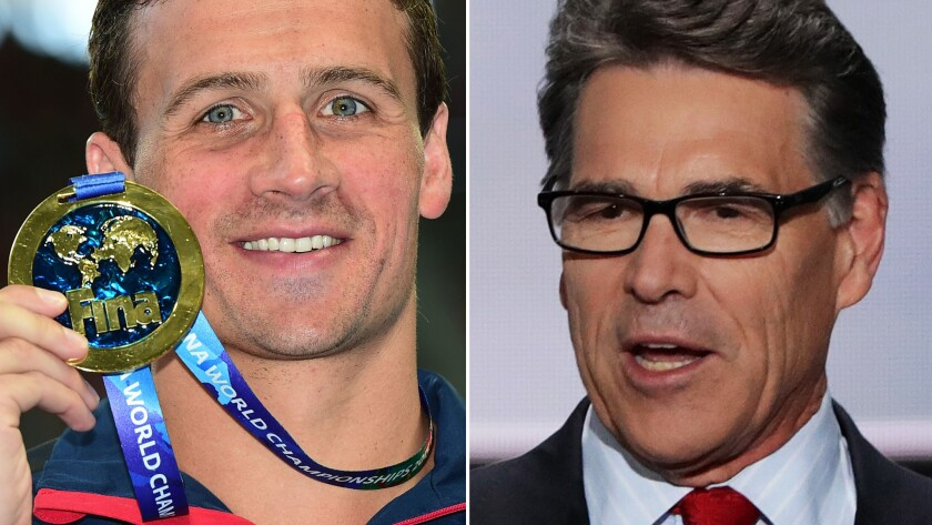"U.S. Olympic swimmer Ryan Lochte, left, and former presidential candidate Rick Perry will compete on ABC's ""Dancing With the Stars"" this September."