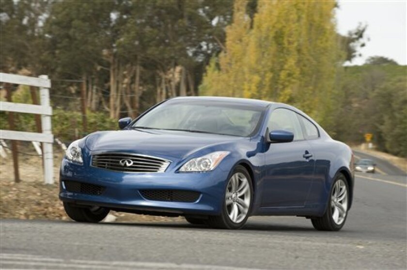 This Oct. 1, 2008 photo, provided by Nissan Infinity, shows the 2009 Infiniti G37x Coupe on the road Napa, Calif. (AP Photo/Nissan Infinity)