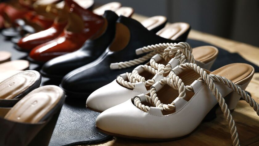 LOS ANGELES-CA-JUNE 5, 2018: A collection of shoes by Jessica Taft Langdon are photographed at her s