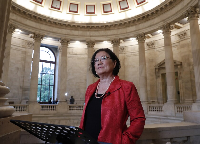 FILE - This Sept. 25, 2018 file photo shows Sen. Mazie Hirono, D-Hawaii, at Capitol Hill in Washington. Hirono, the Senate's first Asian-American woman and only current immigrant, is working on a memoir. Viking announced Tuesday that the book, currently untitled, will come out in 2021. Hirono, 72, will write about emigrating at age 8 to the United States after her mother fled an abusive marriage in Japan. (AP Photo/J. Scott Applewhite, File)