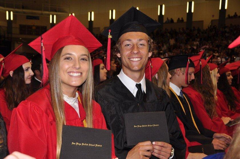 Kira Bruno and Casey Brown (La Jolla High School's Class of 2016 graduation ceremony, June 21 at UC San Diego's RIMAC Arena)
