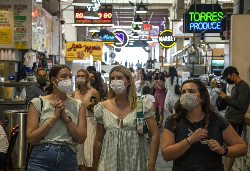 People visit Grand Central Market in L.A.