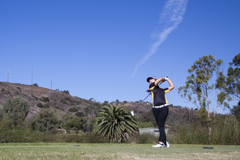 Jung Min Park of Torrey Pines tees off from the 11th hole at Admiral Baker.