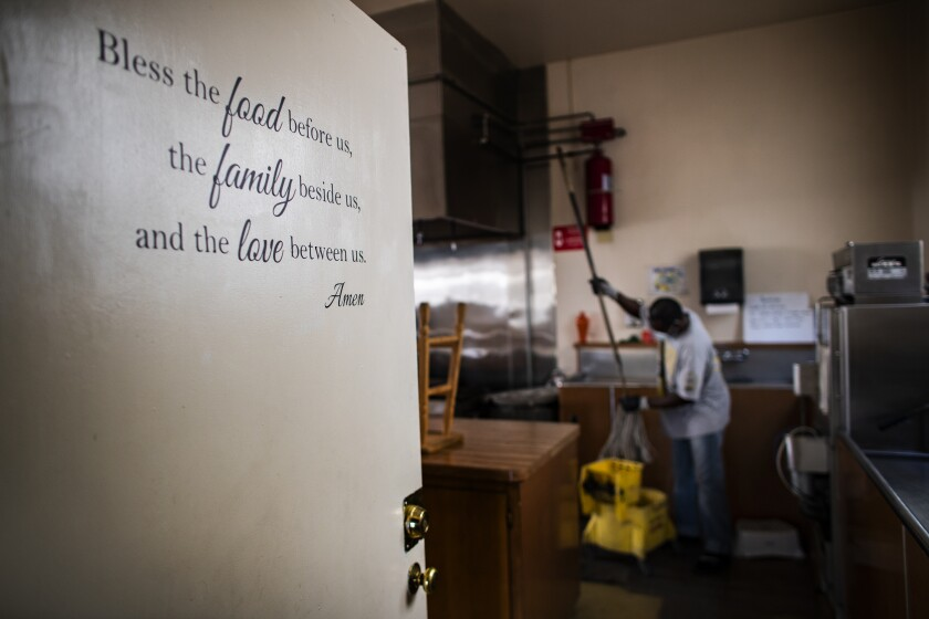 George Iheanacho, an asylum seeker from Nigeria, at a Methodist church two hours east of Los Angeles.