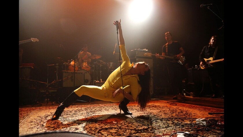 """Juliette Lewis gives a frantic performance of """"Stand Back"""" during Fleetwood Mac Fest at the Fonda Theater onFeb. 10, 2016. Read the review."""