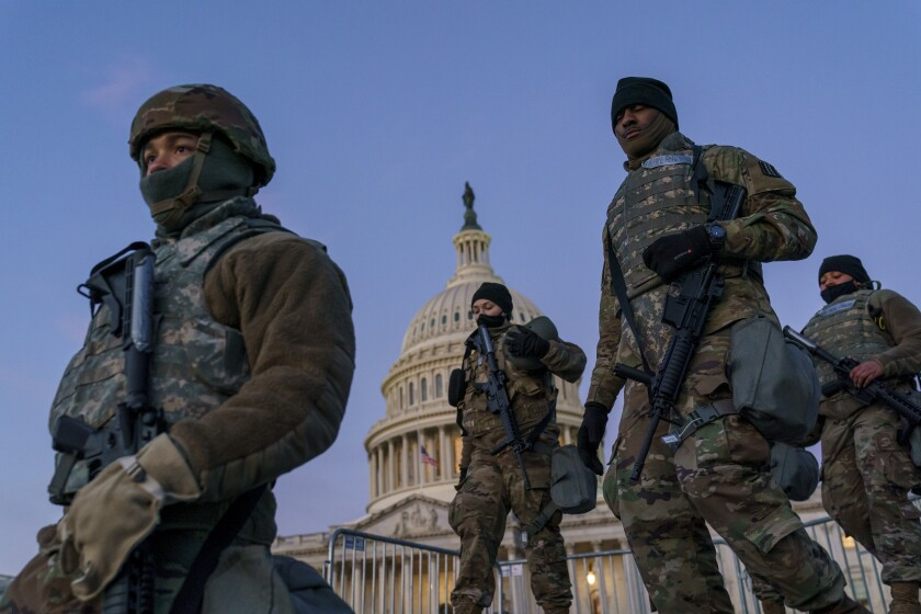 National Guard troops reinforced the security zone on Capitol Hill before President Joe Biden was sworn in Jan. 20.