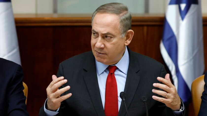 Israeli Prime Minister Benjamin Netanyahu during a Cabinet meeting in Jerusalem on March 16, 2017.