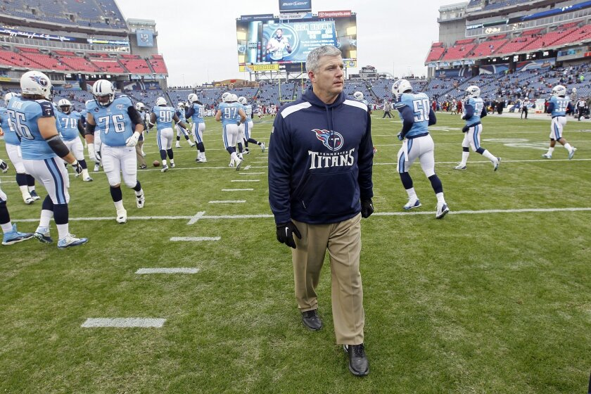 FILE - In this Dec. 15, 2013, file photo, Tennessee Titans head coach Mike Munchak watches his players warm up before an NFL football game against the Arizona Cardinals in Nashville, Tenn. person familiar with the decision say Titans President Tommy Smith has fired Munchak after three seasons as his head coach and 31 years combined with this franchise as a player and coach. The person spoke to The Associated Press on Saturday, Jan. 4, 2014, on the condition of anonymity because the Titans have not made an official announcement. (AP Photo/Wade Payne, File)