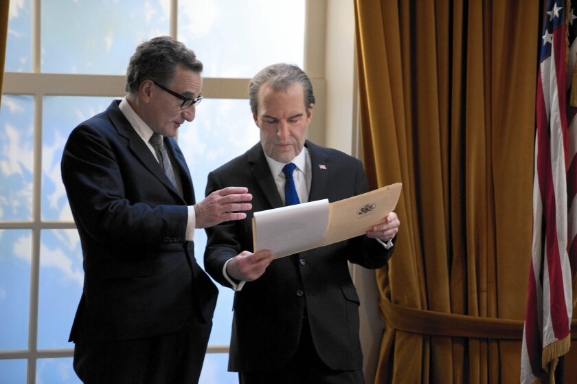 """Harry Shearer, right, plays the 37th president to Henry Goodman's Henry Kissinger in """"Nixon's the One."""" The source of their dialogue? Nixon's secret tapes."""