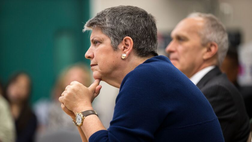 UC President Janet Napolitano during a meeting last April with newly admitted UC students: Why the silence about the outsourcing of IT jobs?