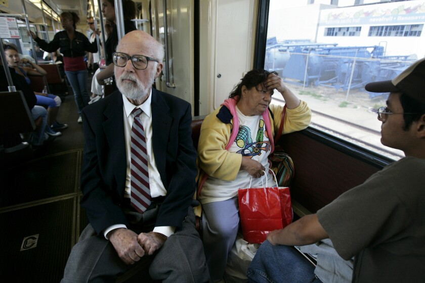 Jim Mills rides the Blue Line in 2007,