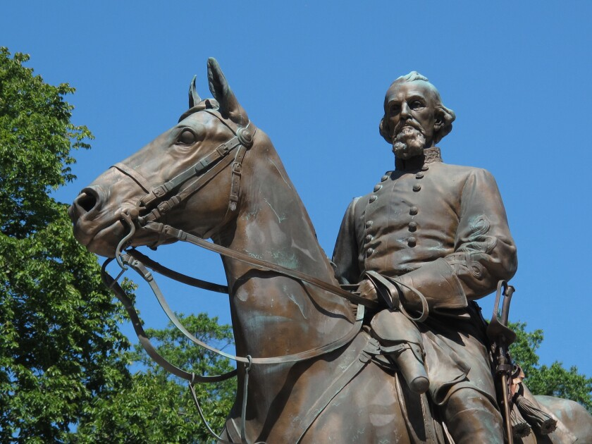 A statue of Confederate Gen. Nathan Bedford Forrest sits in a park in Memphis last year.
