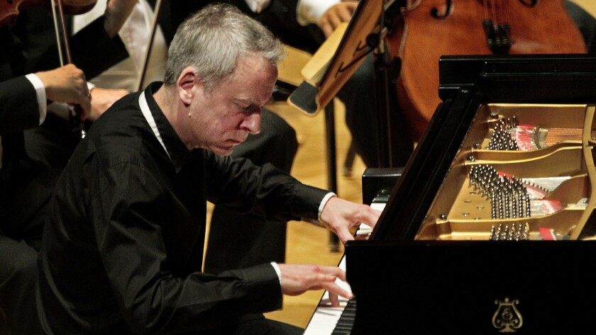 Guest soloist Jeremy Denk, designated 'director' and piano, is leading the ensemble. He's pictured here at Walt Disney Concert Hall in 2014.