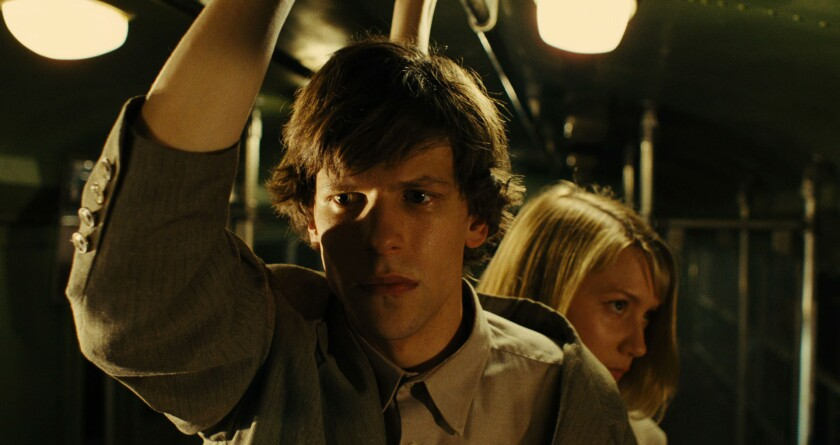 """Jesse Eisenberg and Mia Wasikowska star in """"The Double."""""""