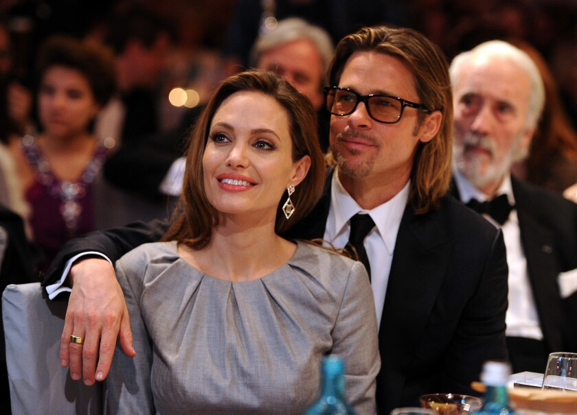 Angelina Jolie and Brad Pitt attend the Cinema for Peace Gala ceremony during the Berlin International Film Festival in 2012.