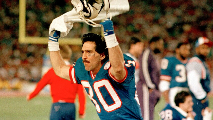 Phil McConkey stirs up the crowd during Super Bowl XXI against the Denver Broncos on Jan. 25, 1987.