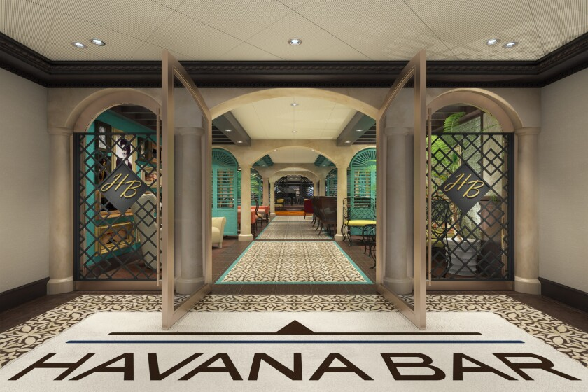 The Carnival Vista will carry a Cuban vibe too. The Havana Bar, seen in an artist's rendering, turns into a dance club at night, and the Havana Pool has pruvate cabanas.