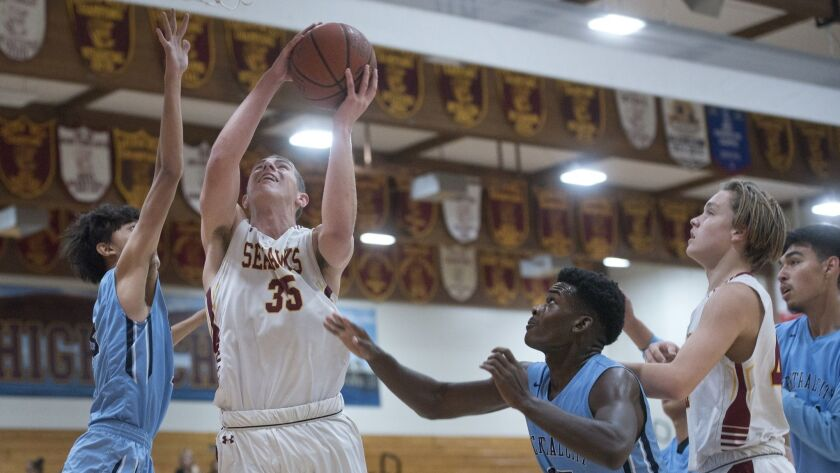 Seahawks' forward Vincent Caiazzo gets in the lane to shoot a layup during a game against Central Ci
