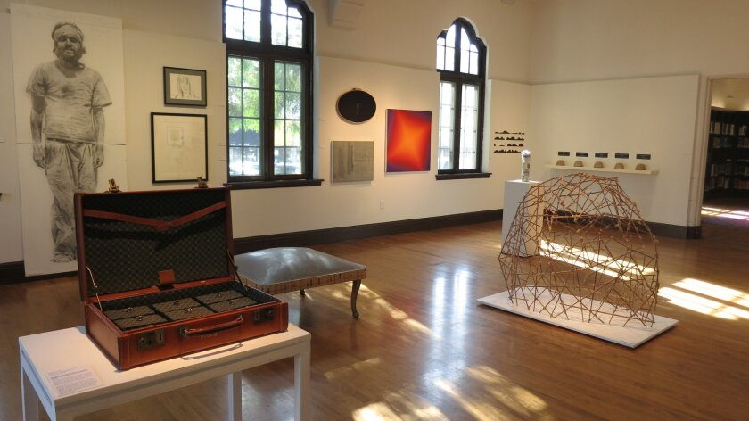 """The Athenaeum's 23rd annual Juried Exhibition. Margaret Noble's """"I Long to be Free from Longing"""" is in the left foreground. Photo: Stephanie Shepherd/Athenaeum Music & Arts Library"""