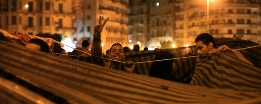 """A scene from the documentary """"The Square,"""" about the revolution in Egypt."""