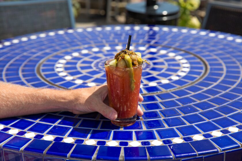 A bloody Mary cocktail from Pacifica Del Mar.