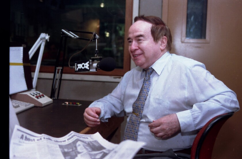 """Joe Franklin appears as a guest on the """"John Gambling Radio Show"""" in 1993. Franklin died Jan. 24 of cancer. He was 88."""