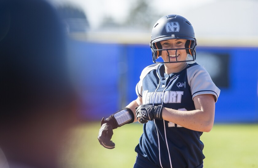 Newport Harbor's Eliana Gottlieb runs the bases on a solo home run during a Sunset Conference crossover game in March 2019.