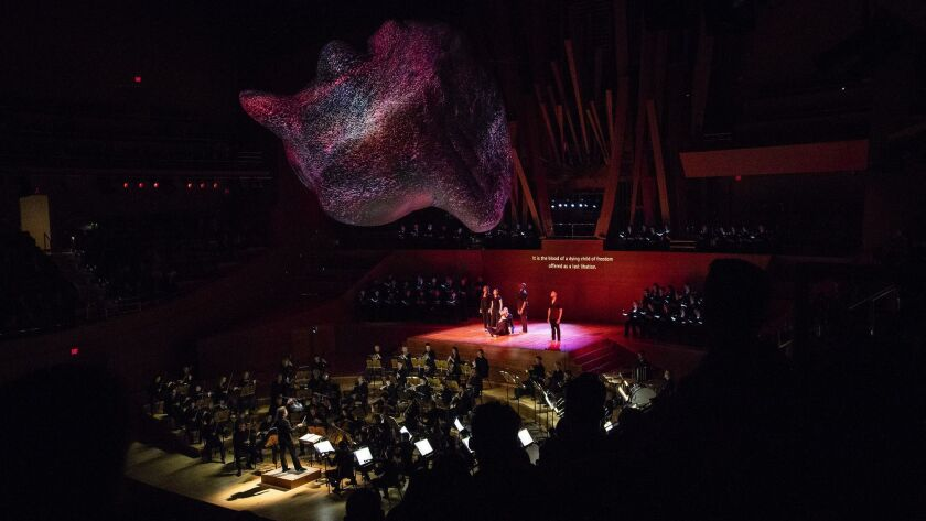 Gustavo Dudamel conducts the Los Angeles Philharmonic in Schumann's 'Das Paradies und die Peri' with soloists and the Los Angeles Master Chorale, and 3-D sculptural projections by Refik Anadol overhead at Walt Disney Concert Hall on Friday.