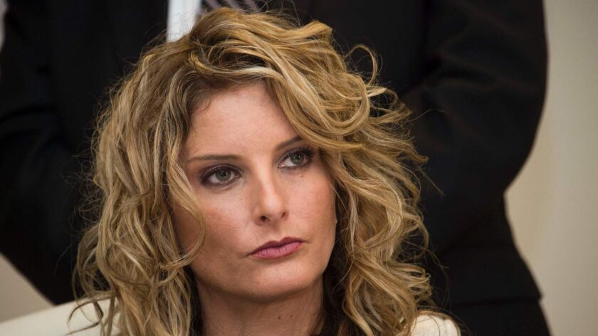 Summer Zervos announces the filing of a lawsuit against then-President-elect Trump in Los Angeles on Jan. 17, 2017.
