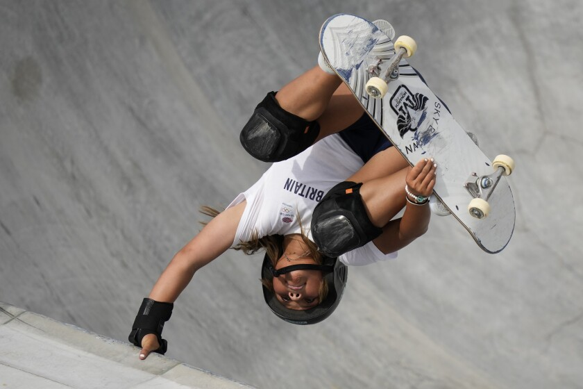Sky Brown of Britain takes part in a women's park skateboarding practice session at the 2020 Summer Olympics