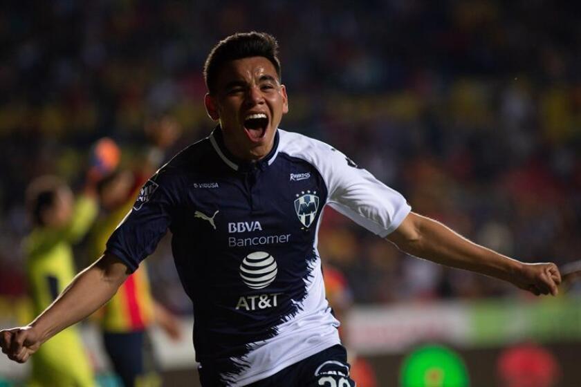 Fotografía del jugador de Monterrey Carlos Rodríguez festejando un gol en contra de Morelia durante un juego de la jornada 7 del torneo clausura 2019 del fútbol mexicano. EFE/Archivo