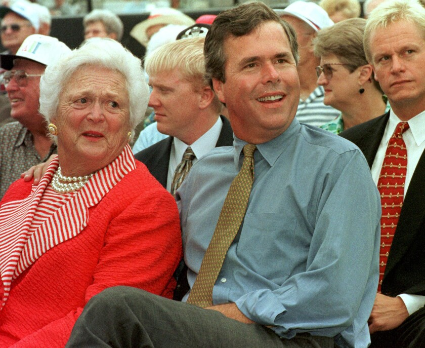 Jeb Bush and his mother at a political rally in Florida in 1998.