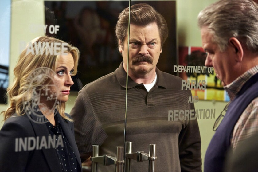 """Amy Poehler Nick Offerman, center, and Jim O'Heir in """"Parks and Recreation."""""""