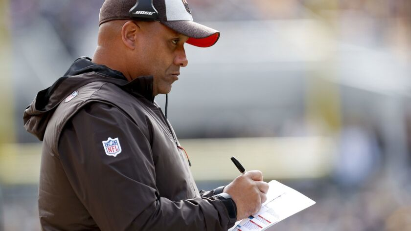 Cleveland Browns head coach Hue Jackson works the sideline as his team plays against the Pittsburgh