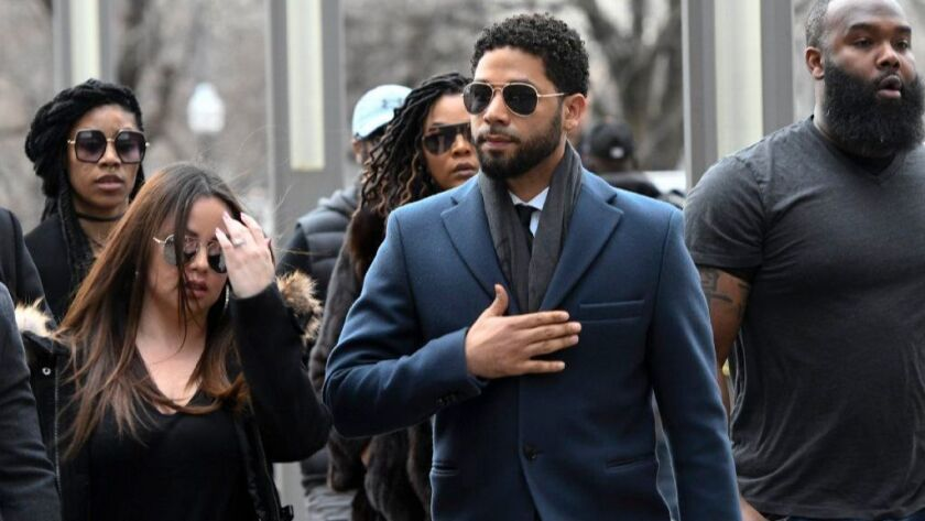 """""""Empire"""" actor Jussie Smollett arrives at the Leighton Criminal Court Building in Chicago on March 14."""