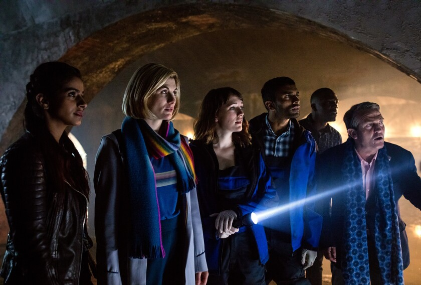 """The British sci-fi drama """"Doctor Who"""" returns with a special New Year's Day episode. With Mandip Gill, left, Jodie Whittaker, Charlotte Ritchie, Nikesh Patel, Tosin Cole and Bradley Walsh."""