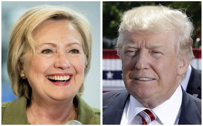 Democratic presidential candidate Hillary Clinton, left, and Republican presidential candidate Donal Trump in these 2016 file photos. Clinton and Trump offer voters distinct choices this fall on issues that shape everyday lives. Actual ideas are in play, as difficult as it can be to see them throug