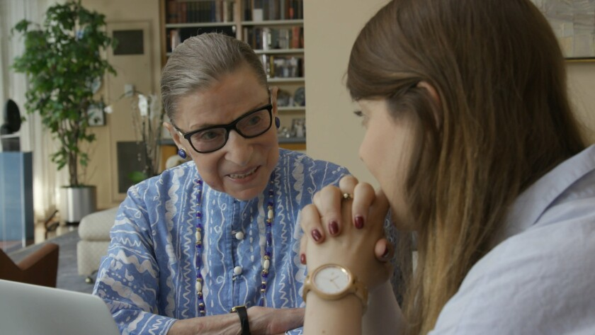Ruth Bader Ginsburg and Clara Spera appear in <i>RBG</i> by Betsy West and Julie Cohen, an official