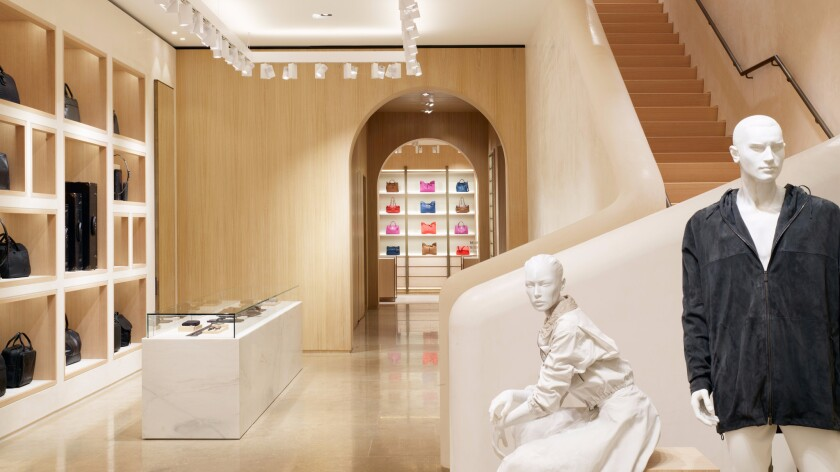 An interior view of Bottega Veneta's Beverly Hills maison, a new 4,828-square-foot boutique inspired by the architecture of Southern California.