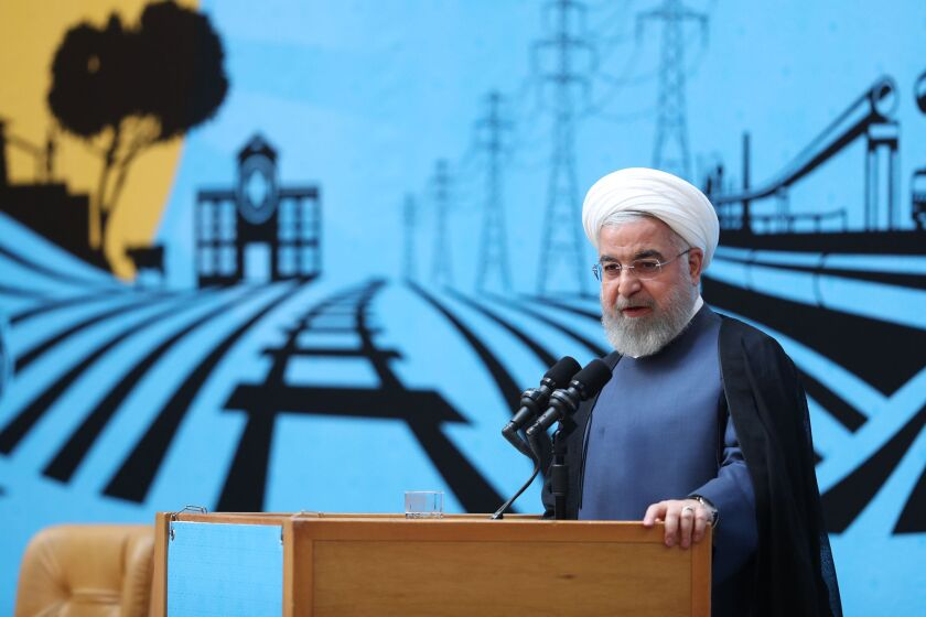 Iranian President Hassan Rouhani speaks in Tehran on Aug. 26, 2019.