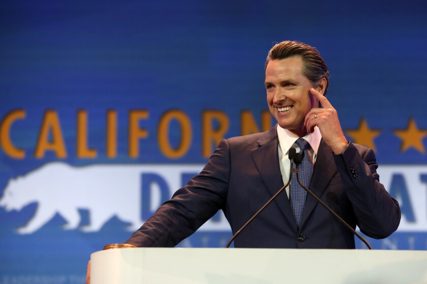 Lt. Gov. Gavin Newsom addresses the California Democratic Party Convention in Anaheim.