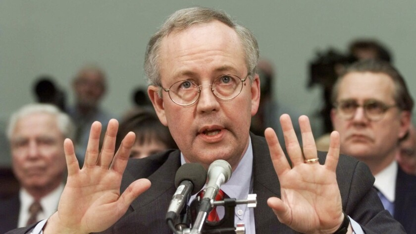 Then-Independent Counsel Kenneth Starr testifies to Congress during the impeachment inquiry into President Clinton in 1998.
