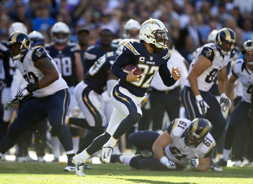 Eric Weddle, here running back a blocked field goal against the St. Louis Rams in 2014, is likely entering his final season as a Charger.