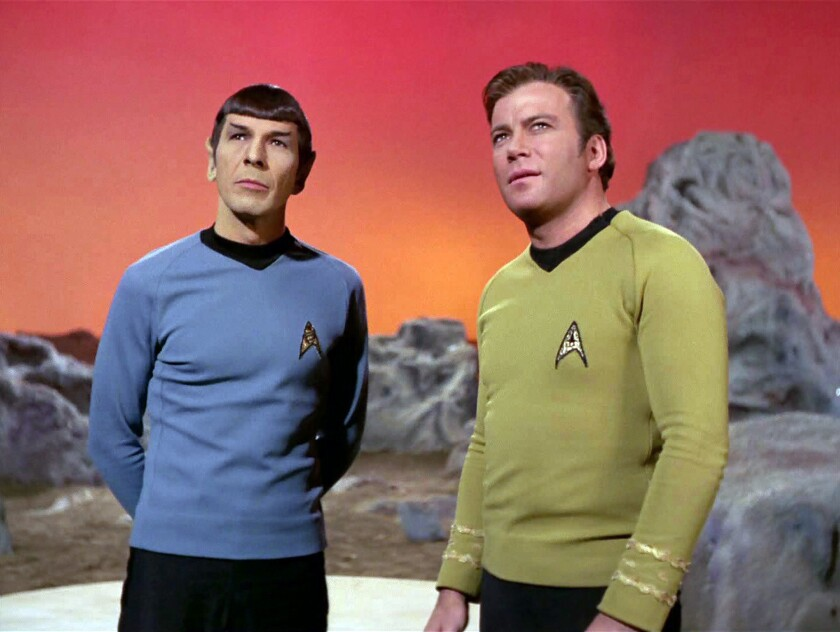 "Leonard Nimoy, left, and William Shatner in the original ""Star Trek"" series, which ran from 1966 to 1969."