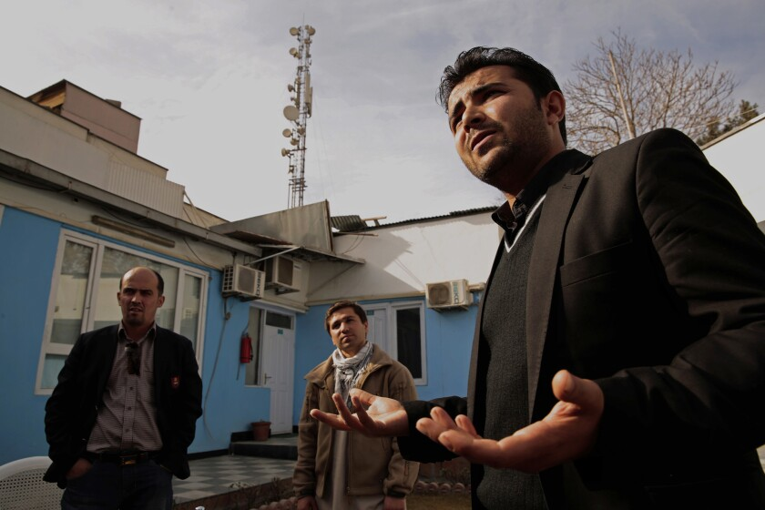 Shafiq Nazari, left, Shirullah Mirzamik, center, and Sardar Khan, worked as translators for Americans in Afghanistan.