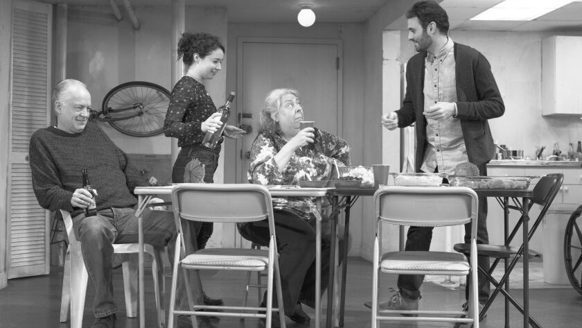 """Reed Birney, from left, Sarah Steele, Jayne Houdyshell and Arian Moayed in """"The Humans"""" at the Helen"""